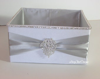 Wedding Box, Bling Program Box, Bubble Box, Wedding Basket, Container for Programs, White and Silver, Box for Toiletries  - Custom Made