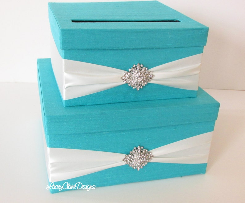 Wedding Card Box Bride Co Theme Party Money Box Quinceanera Aquamarine Card Box Gift Card Envelope Box Birthday Party Custom Made