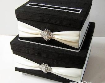 Black and Ivory Wedding Card Box, Bling Card Box, Rhinestone Money Card Holder, Card Box with Lock, Wedding Gift Box, Box with Lid, Custom