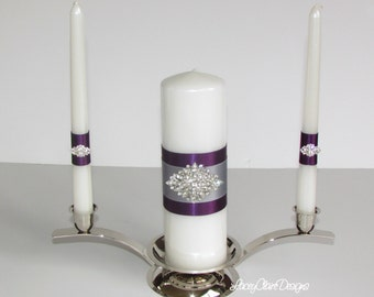 Purple and Silver Unity Candles, Wedding Unity Candles, Catholic Ceremony, Unity Candles Set, Wedding Candles, Custom Made
