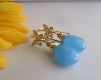 Blue Gemstone Earrrings,Gold Plated Butterfly Earrings,Dangle Earrrings,Gemstone Earrings,Light Blue Gemstone Earrings,Butterfly Earrings