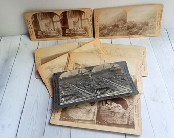 Stereoscope Cards Antique Set of 9
