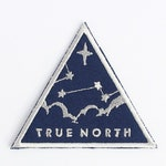 True North Patch // sky, stars, navigation, clouds, night sky, adventure accessory, embroidered, iron on, american made, navy blue, silver