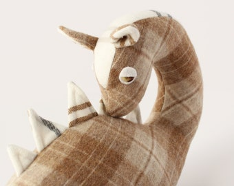 Nessie // beige and white plaid, collectible, fiber art, loch ness monster, plushy, doll, creature cryptid, pillow, plesiosaur, dinosaur