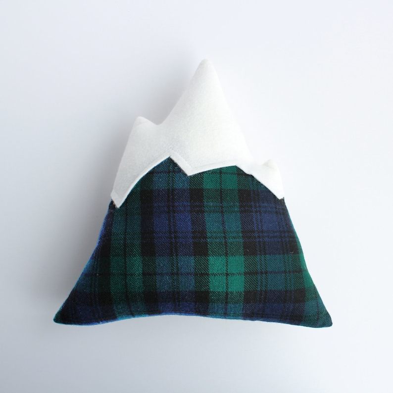 Mountain Pillow // green and blue plaid decorative pillow image 0