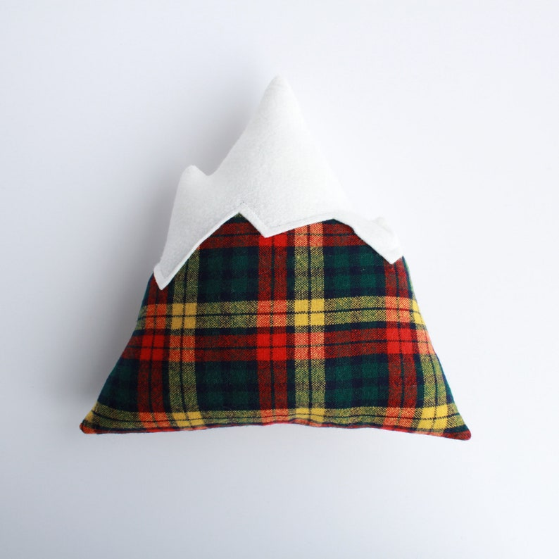 Mountain Pillow // red green and yellow plaid decorative image 0