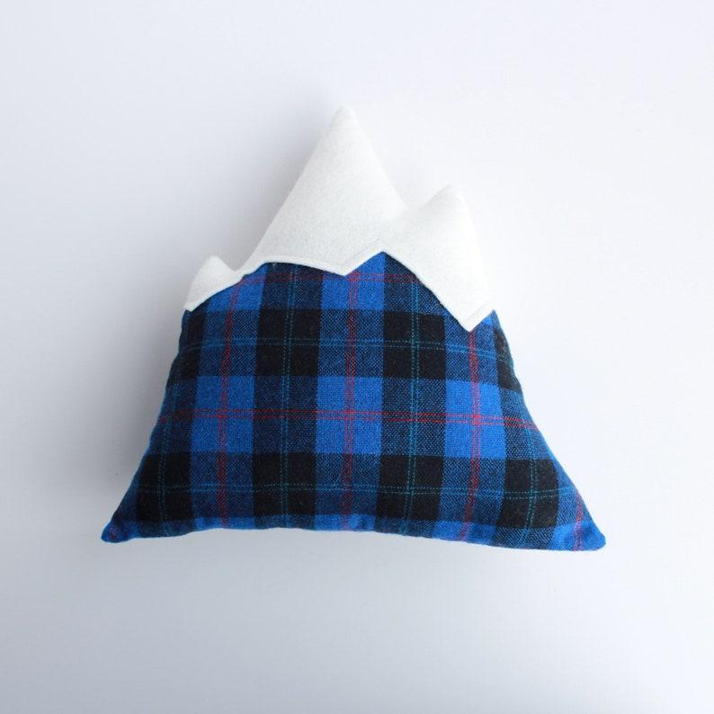 Mountain Pillow // blue plaid decorative pillow throw image 0