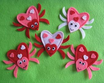 5 Valentine Love Bug Finger Puppets w/ original rhyme