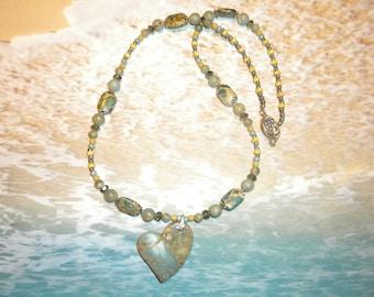 Heart Snakeskin Jasper Pendant Necklace
