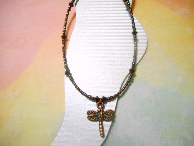 Antique Copper Dragonfly Ankle Bracelet
