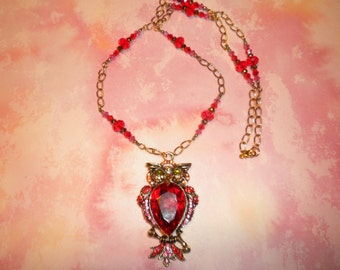 Red crystal Owl Pendant Necklace