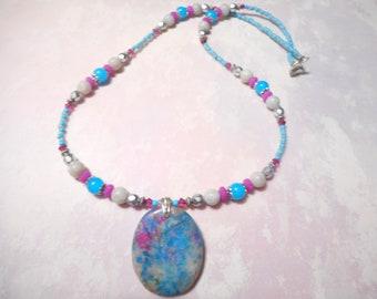 Blue Water Color Jasper Pendant Necklace