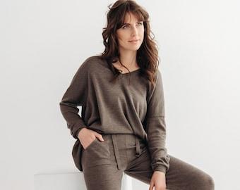 Oversize merino wool v neck sweater, brown merino lounge sweater, women's oversized merino sweater.