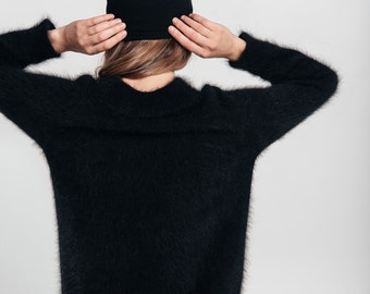 Angora wool fluffy sweater with long sleeves, Black color sweater with round neck, fuzzy angora wool sweater.