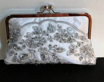 Bridal Clutch Silver Pearl and Sequin Floral Clutch