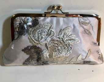 Bridal Clutch Silver and White Flowers Beaded and Sequined Clutch OOAK