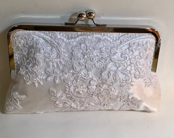 Bridal Clutch Ivory Embroidered Lace