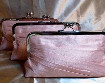 Bridal Clutch or Bridesmaids Clutch Side Pleated Dupioni Silk Pink / Customize