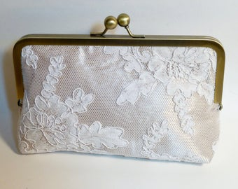 Champagne Bridal Clutch | Champagne with Lace Overlay Clutch