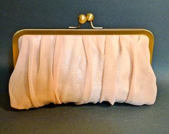 Bridal Clutch or Bridesmaid Clutch Chiffon Champagne Customize