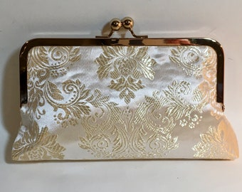 Bridal Clutch Gold and White Damask Bridesmaid