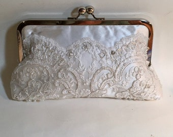 Bridal Clutch Ivory Lace with Silver Lurex Accents