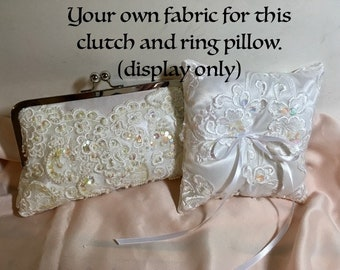 Bridal Clutch YOUR FABRIC or HEIRLOOM Dress Fabric Customize your Clutch and Ring Pillow