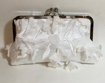 3D Flowers Ivory Bridal Clutch or Bridesmaids Clutch CUSTOMIZE
