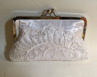Bridal Clutch White or Ivory Lace with Daisys Clutch