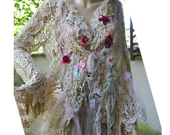 Unique Beautiful Art to Wear Schabby Chic XL Wedding  Boho  Jacket ANTIQUE DOILIES  Millinery Fairy Tattered