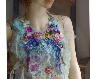 Beautiful Unique  Art to Wear Textiles Necklace Fairy Silks Silk Velvet Boho Gipsy Tattered