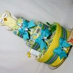 Baby Diaper Cake Yellow Aqua Shower Gift Centerpiece Girls Boys Neutral