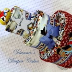 Country Western Baby Diaper Cake Choose Fabric Shower Gift or Centerpiece