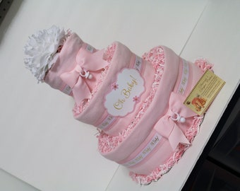 Oh Baby Baby Diaper Cake Pink OR Blue Gift Centerpiece