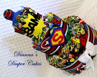 Superheroes Baby Diaper Cake Shower Gift Centerpiece