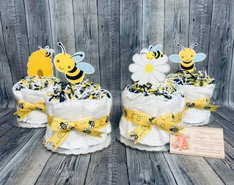 Bees ALREADY MADE Baby Diaper Cakes Minis Set of 4 Shower Gifts or Centerpieces