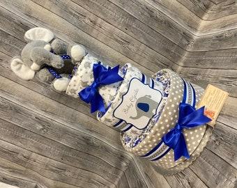 Elephants Baby Diaper Cake CHOOSE COLOR Shower Gift Centerpiece
