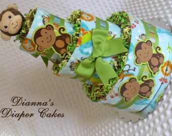 Baby Diaper Cake Jungle Monkey Zoo Animals Shower Gift Centerpiece