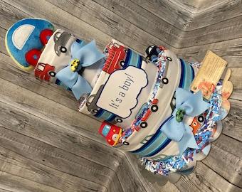Baby Diaper Cake Cars Boys Shower Gift Centerpiece