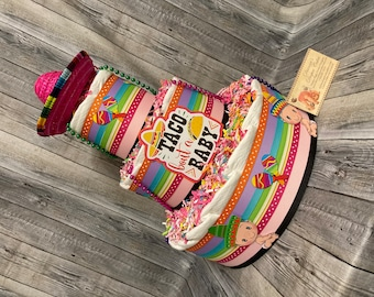 Taco bout a Baby Diaper Cake Hispanic Mexican GIRL Shower Centerpiece