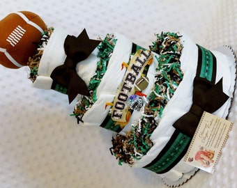 Baby Diaper Cake Football Sports Boys Shower Gift or Centerpiece