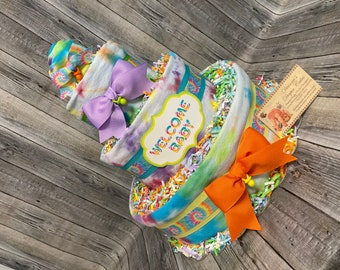 Tie Dyed Baby Diaper Cake Shower Gift or Centerpiece Tye Dye