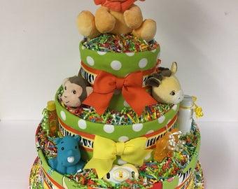 Baby Diaper Cake Zoo Animals Shower SELECT FABRIC Jungle Safari Large