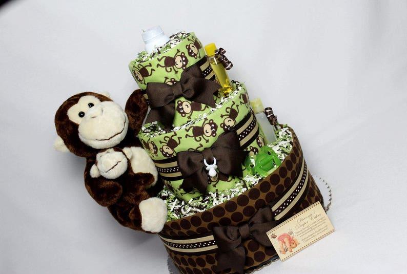 Monkey Baby Diaper Cake Shower Gift Centerpiece ALREADY MADE Neural