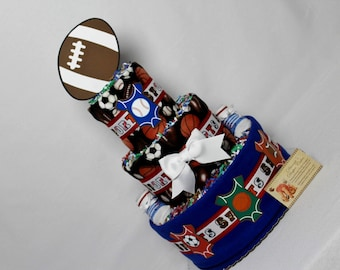 Sports Baby Diaper Cake Shower Gift or Centerpiece