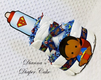 Superhero Baby Diaper Cake 2 Tier Shower Gift Centerpiece Select initial and Character
