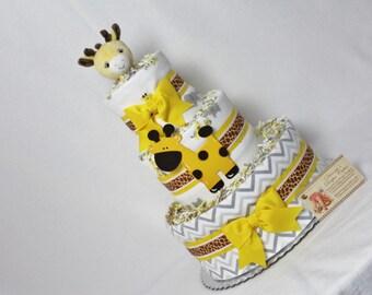 Baby Diaper Cake Giraffe Shower Centerpiece Gift SELECT FABRIC Boys Girls Neutral