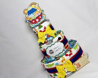 Baby Diaper Cake Noah's Ark Neutral Boys Girls Shower Gift or Centerpiece
