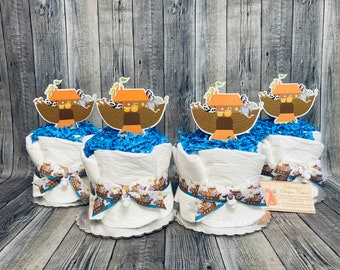 Noahs Ark ALREADY MADE Baby Diaper Cakes Minis Set of 4 Shower Gifts or Centerpieces