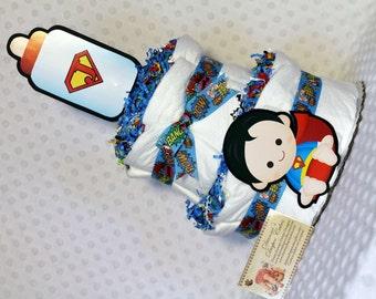 Superhero Baby Diaper Cake 2 Tier Shower Gift Centerpiece